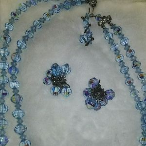 Blue Crystal Double-Strand Necklace